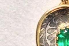Fiddle-head Fern Emerald Pendant $3,750 Nanz Aalund, Poulsbo, WA Sterling Silver, 20k, 18k, gold